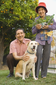 Senior Hispanic couple with potted plants and dog outdoors